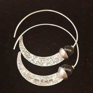 Silpada sterling silver and stone hoop earrings